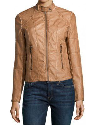 Women's Stand Collar Cognac Leather Jacket-0