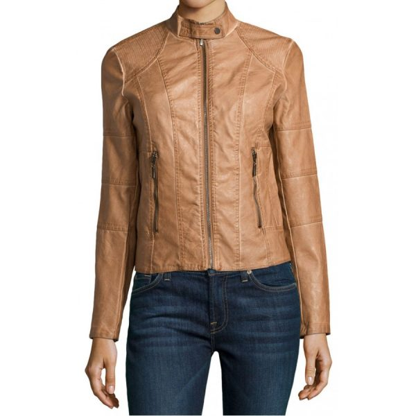 Women's Stand Collar Cognac Leather Jacket-0