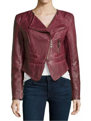 Womens Burgundy Faux Leather Cropped Biker Jacket-0
