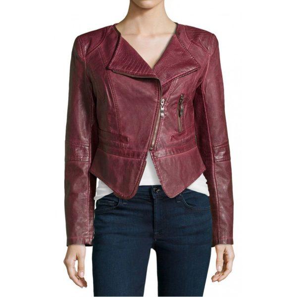 Womens Burgundy Faux Leather Cropped Biker Jacket-0