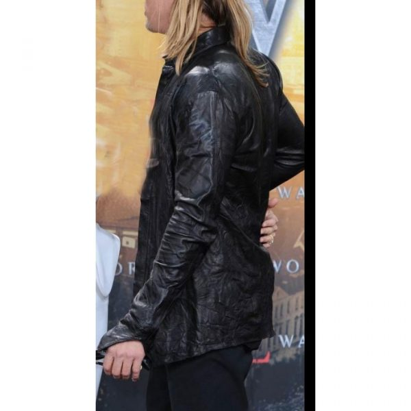 War Z Premiere Brad Pitt World Leather Jacket