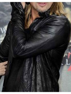 Brad Pitt World War Z Premiere Black Leather Jacket