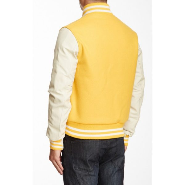 Yellow and White Leather Varsity Jacket