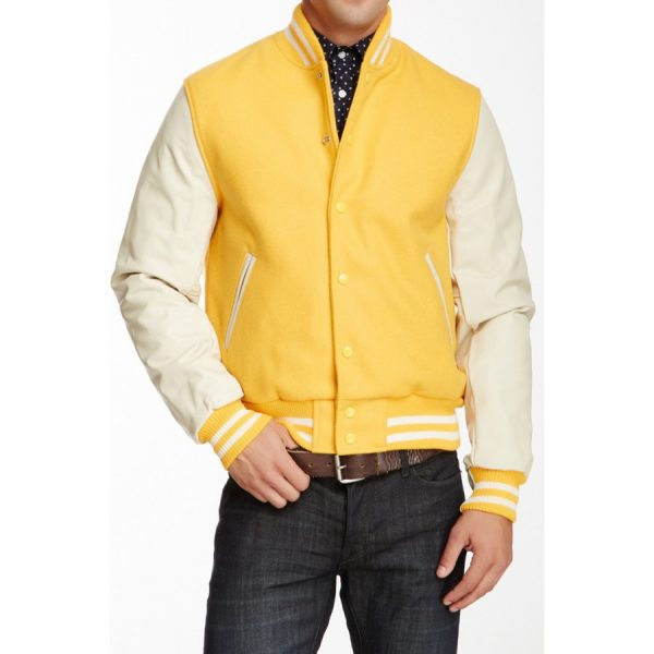 White and Yellow Leather Varsity Jacket