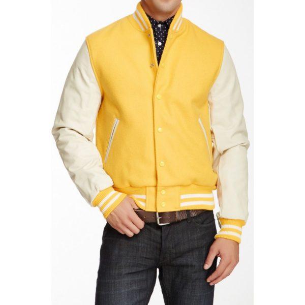 White and Yellow Leather Varsity Jacket