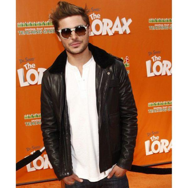 Zac Efron Black Leather Fur Collar Jacket-0