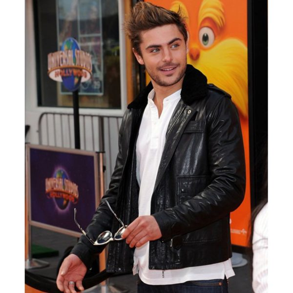 Zac Efron Fur Collar Leather Jacket