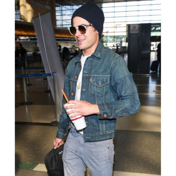 Zac Efron Dark Blue Denim Jean Jacket-0