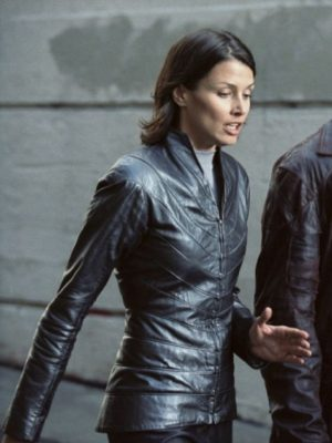 Bridget Moynahan I Robot Black Leather Jacket