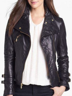 Asymmetrical Black Leather Moto Jacket