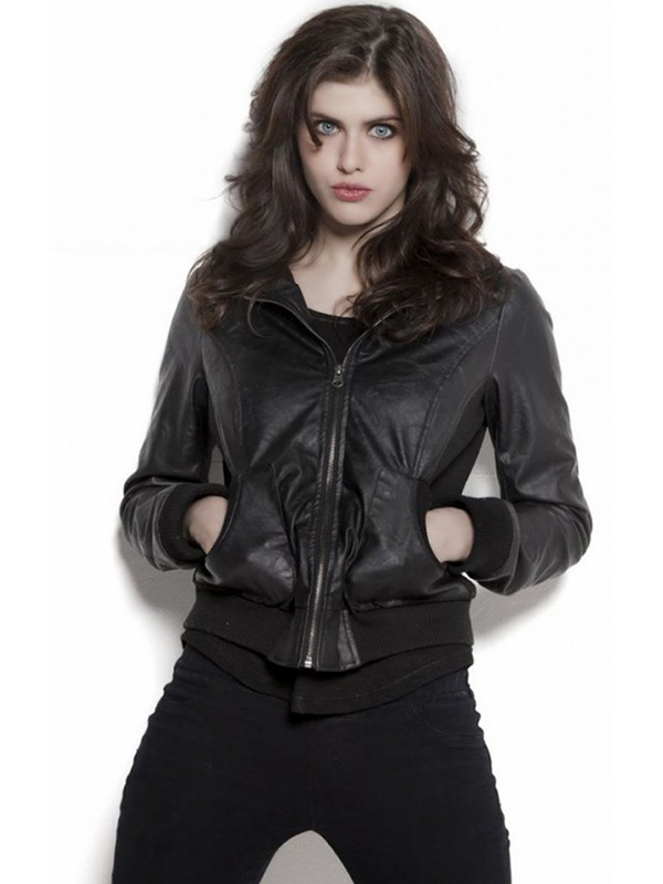 Alexandra Daddario Black Leather Jacket