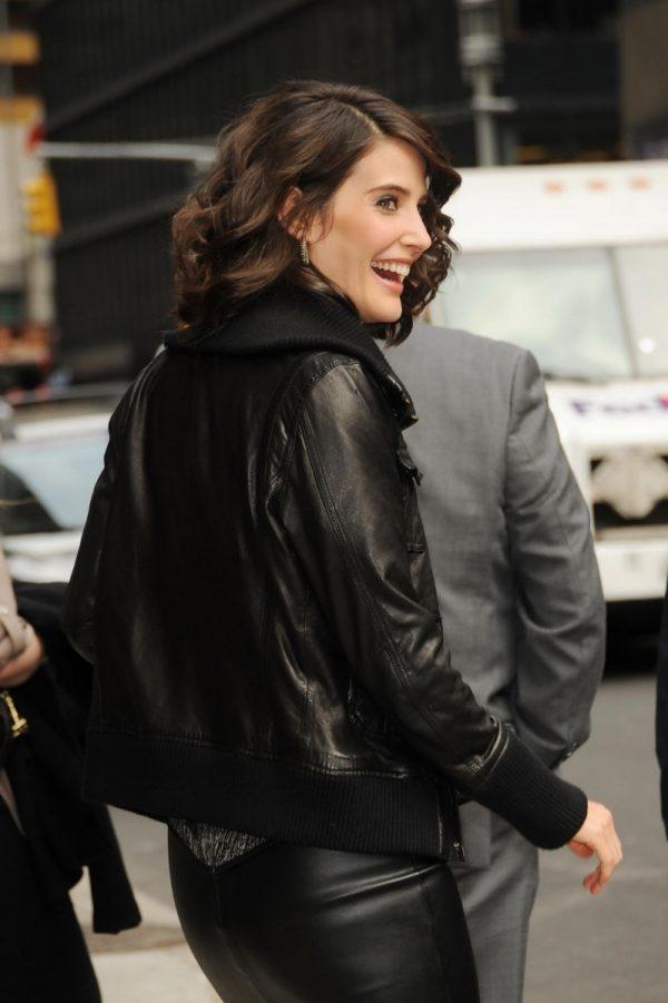 Cobie Smulders Black Bomber Leather Jacket