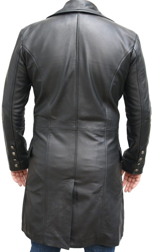Sweeney Tod Black Leather Trench Coat