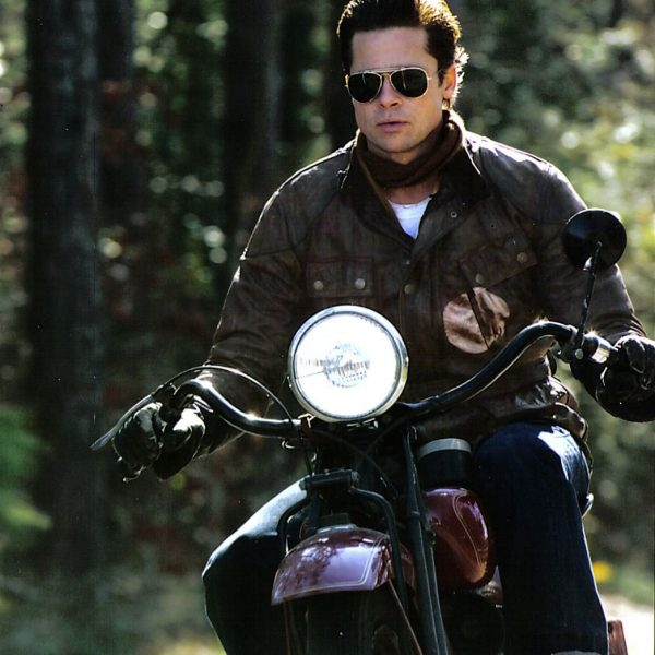 Brad Pitt Panther Motorcycle Riders Leather Jacket-0