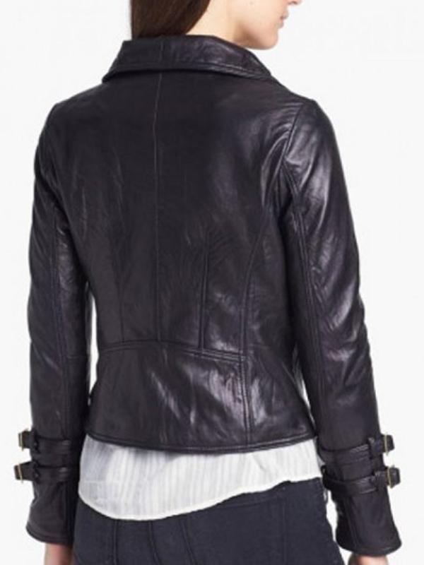 Black Leather Biker Jacket For Women