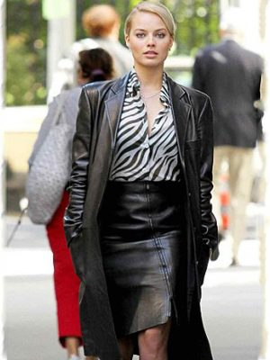 Margot Robbie Black Leather Coat