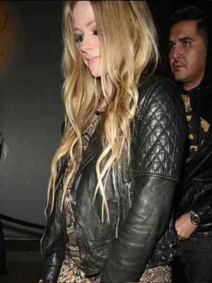 Avril Lavigne Black Quilted Biker Jacket