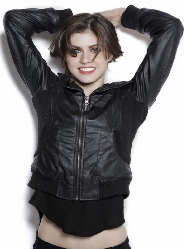 Alexandra Daddario Black Bomber Leather Jacket