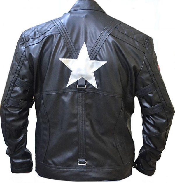 Black Biker Quilted Leather Jacket Captain America
