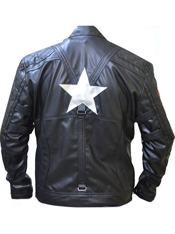 Black Biker Quilted Leather Jacket Captain America