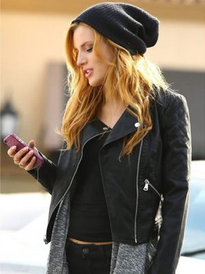 Bella Thorne Black Leather Jacket