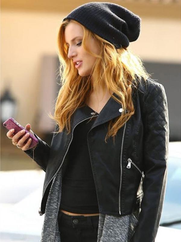 Bella Thorne Black Leather Jacket