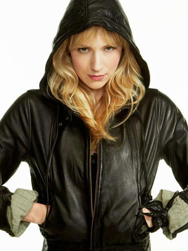 Beth Riesgraf Black Leverage Parker Leather Jacket