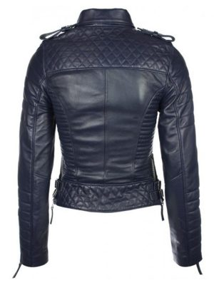 Quilted Womens Biker Leather Jacket