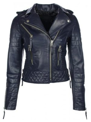 Biker Blue Quilted Leather Jacket Womens