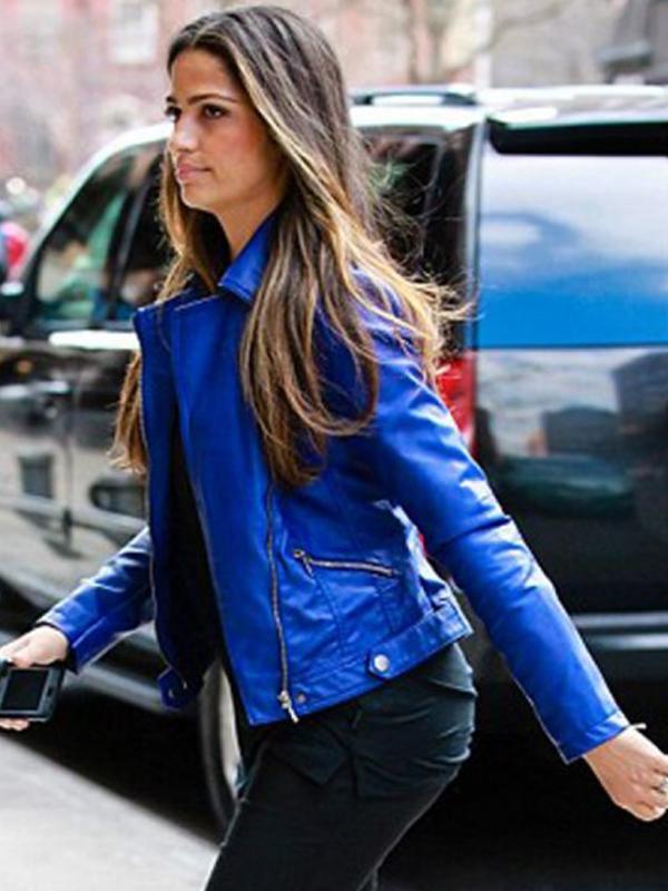 Camila Alves Blue Biker Jacket