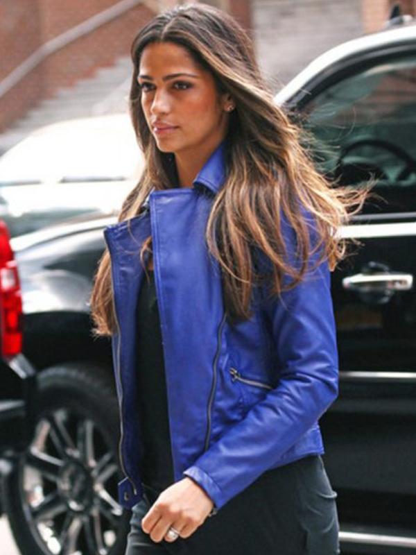Camila Alves Blue Biker Leather Jacket