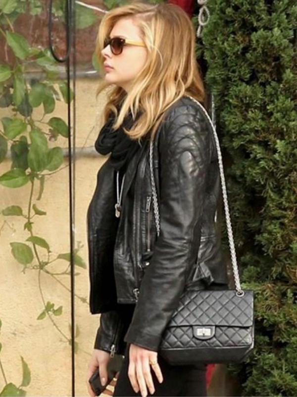 Chloe Moretz Quilted Biker Jacket