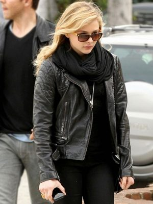 Chloe Moretz Black Quilted Leather Jacket