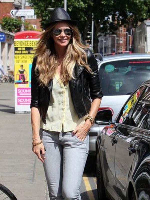 Biker Style Elle Macpherson Black Leather Jacket