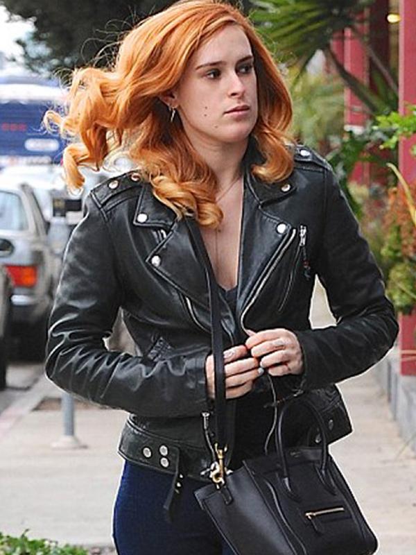 Rumer Willis Black Leather Jacket