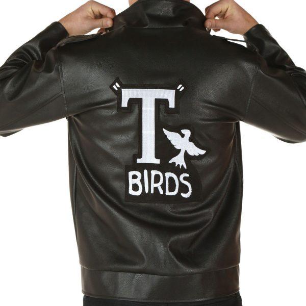 T-Birds John Travolta Black Leather Jacket-0