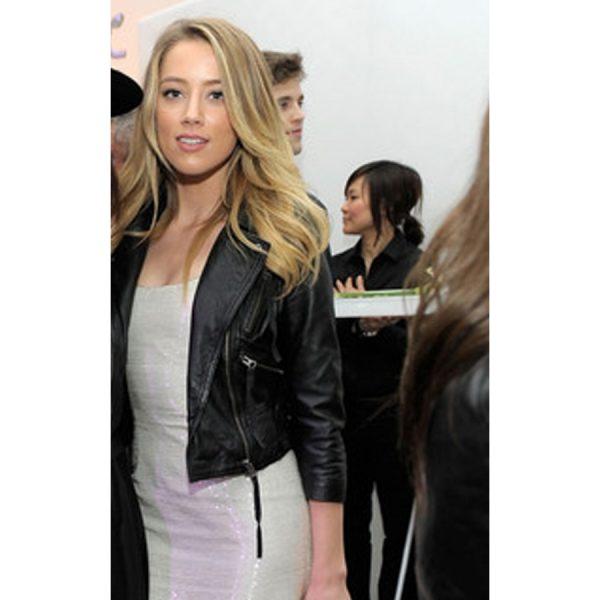 Black Amber Heard Leather Jacket