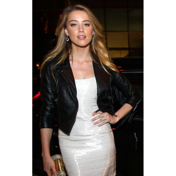 Amber Heard Black Leather Jacket-0