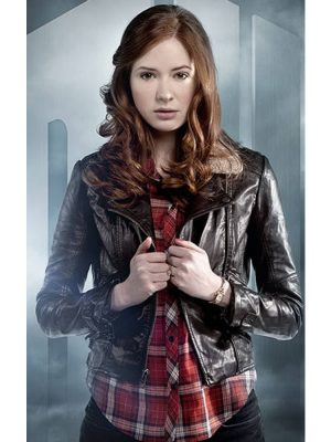 Doctor Who Amy Pond Dark Brown Leather Jacket-0