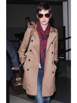Anne Hathaway Stylish Brown Trench Coat-0