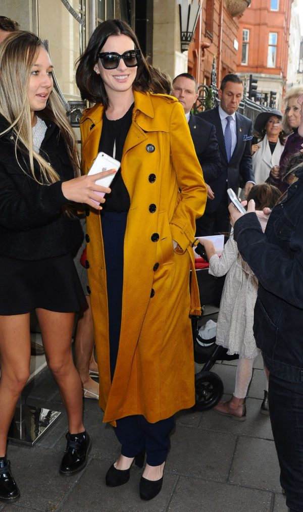 Anne Hathaway Yellow Cotton Coat