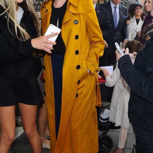 Anne Hathaway Yellow Cotton Coat