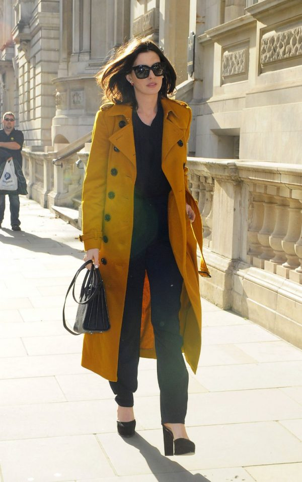 Anne Hathaway Chic Yellow Trench Coat London-0