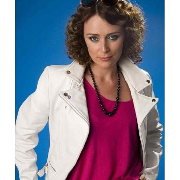 Ashes To Ashes Keeley Hawes White Leather Biker Jacket-0
