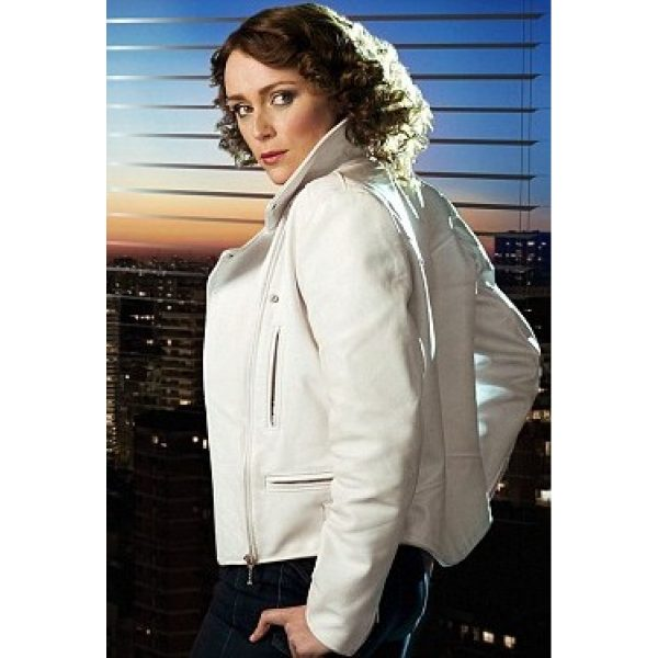 Keeley Hawes Ashes To Ashes White Biker Jacket