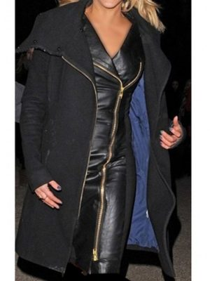 Ashley Roberts Black Leather Dress for Ladies -0