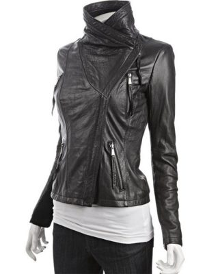 Asymmetrical Black Leather Jacket-0