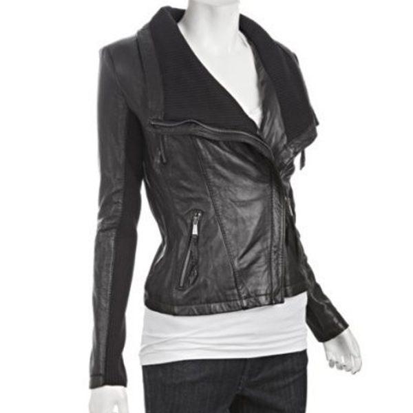 Asymmetrical Black Leather Jacket