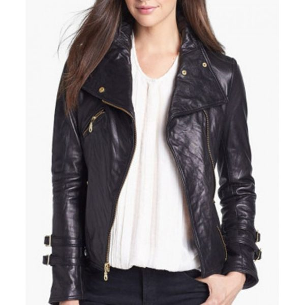 Asymmetrical Black Leather Moto Jacket-0