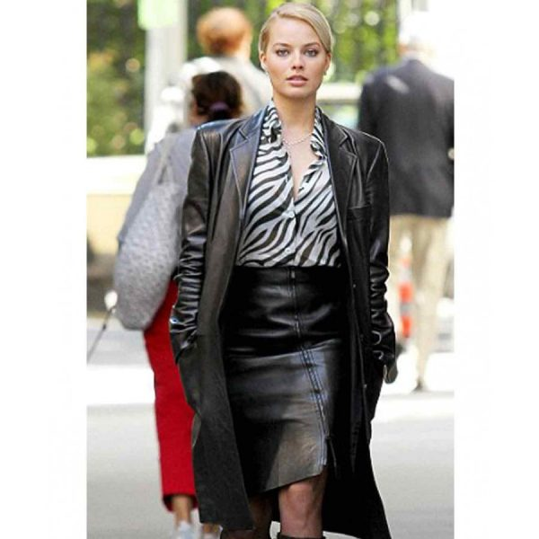 Margot Robbie Black Leather Coat